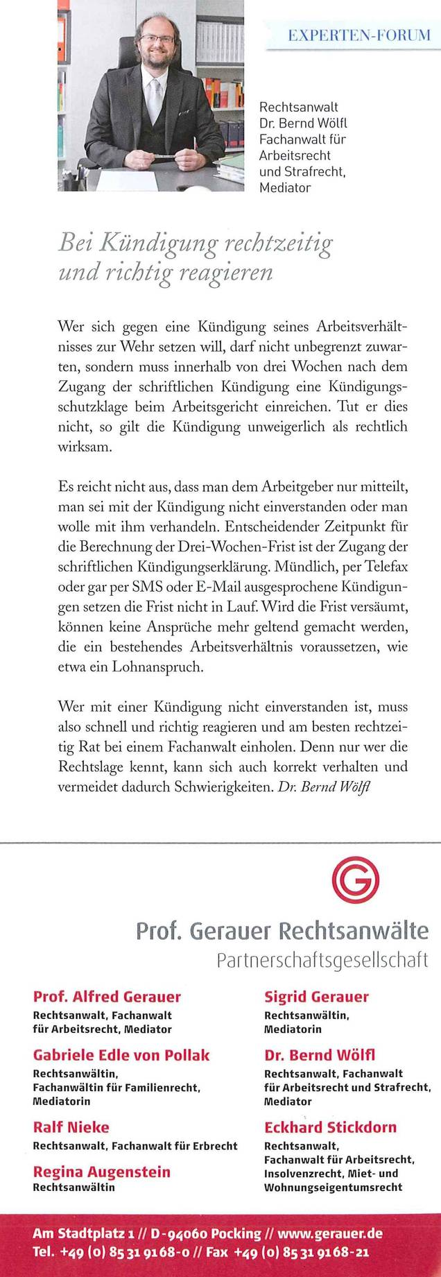 Rechtsanwalt Dr Bernd Wölfl Kündigung Von Arbeitsverhältnissen