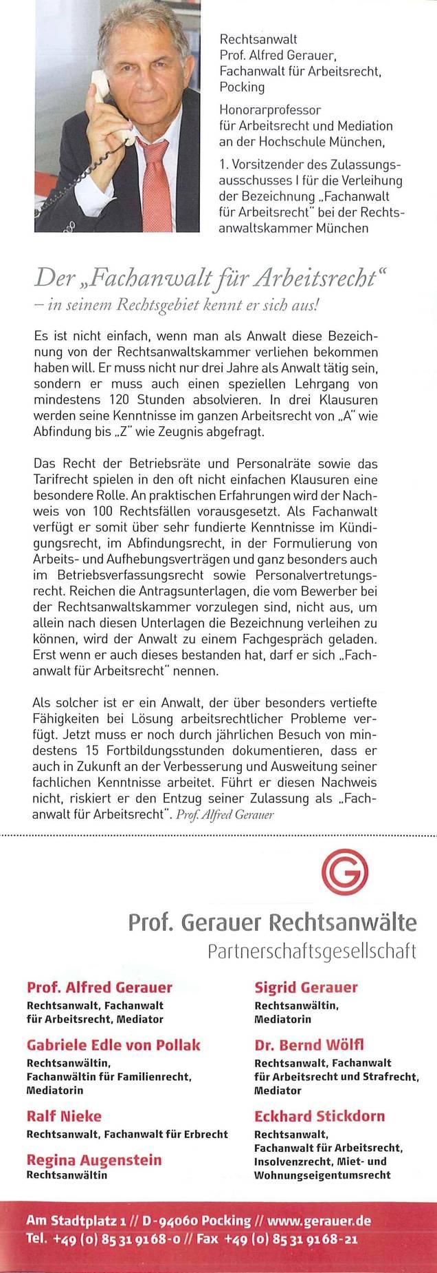 Rechtsanwalt Prof Alfred Gerauer Der Fachanwalt Für Arbeitsrecht